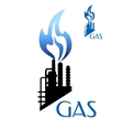 Gas and oil industry icon with factory silhouette vector image vector image