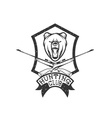 grunge hunting club crest with carbines and bear vector image