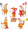 Set of cartoon cute knights vector