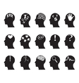 black profiles with idea symbols vector image