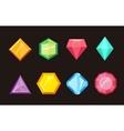 Cartoon gems jewels diamond brilliant set vector image