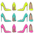 color illuminations of female classical shoes vector image