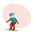 funny boy snowboarding downhill place for text vector image