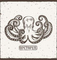 octopus engraving logo vintage black engraving vector image