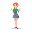 scared young woman cartoon flat character vector image