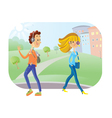 Young boy and girl look vector image