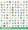 100 idea icons set isometric 3d style vector image