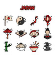 japan flat icons vector image