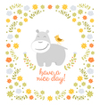 Happy hippo on floral background vector image vector image