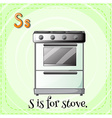 Flashcard of S if for stove vector image