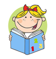 Happy Girl Reading A Book vector image