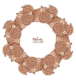 Round tribal frame in mehndi style vector image