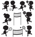 eight sportive kids black silhouettes vector image