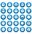 smile icon set blue simple style vector image