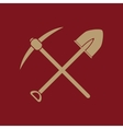 The crossing spade pickax icon Pickax and vector image
