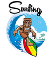 tiki surfing vector image