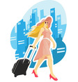 Woman Tourist Travelling with City Background vector image
