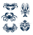 seafood icon set with crab and lobster vector image vector image