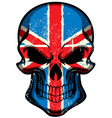UK flag painted on skull vector image vector image