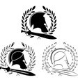 set of ancient helmets with swords vector image