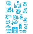 Milk blue labels and icons with splashes vector image vector image