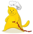 cat with sausage vector image vector image
