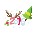 2016 New Years invitation with pine tree vector image