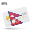 Credit card with Nepal flag background for bank vector image