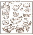 fast food sketch icons burgers pizza vector image