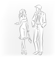 Meeting man and woman Talking and walking vector image