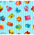 Seamless celebration pattern with colorful sticker vector image