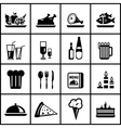 restaurant food black icon set vector image vector image