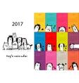 Funny dogs calendar 2017 design vector image