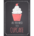 Chalkboard Cupcake Design vector image