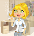Girl with tablet inspiration idea in office vector image