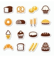 Bakery pastry icons set - bread donut cake vector image