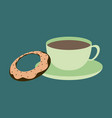 sweet dessert in flat design cup of tea and donat vector image