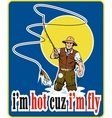 fly fisherman fishing with fly rod and reel and vector image