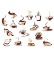 Coffee cup icons vector image vector image
