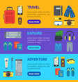 cartoon vacation and travel banner horizontal set vector image