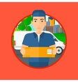 Delivery man carrying cardboard boxes vector image