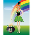Leprechaun girl with pot of gold vector image