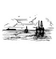 oil platforms on the background of the sea vector image