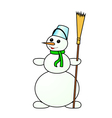 snowman on a white background vector image