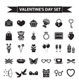 Valentines Day icon set black silhouette style vector image