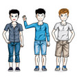 young teen boys cute children group standing in vector image