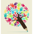 Diversity hand concept pencil tree vector image vector image