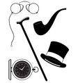 retro mens accessories 19th century black and vector image vector image