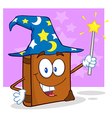 Wizard Book Cartoon Character Holding A Magic Wand vector image