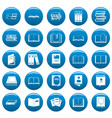 book icons set blue simple style vector image